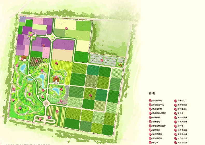 """沂水""""七彩林""""庄园项目设计其基础是苗木基地,北温带有色植物培育和"""